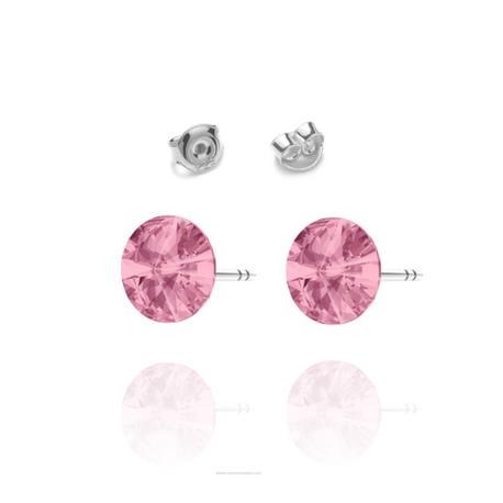 Kolczyki Swarovski z różowym kamieniem wkrętki | EJE156 (1)