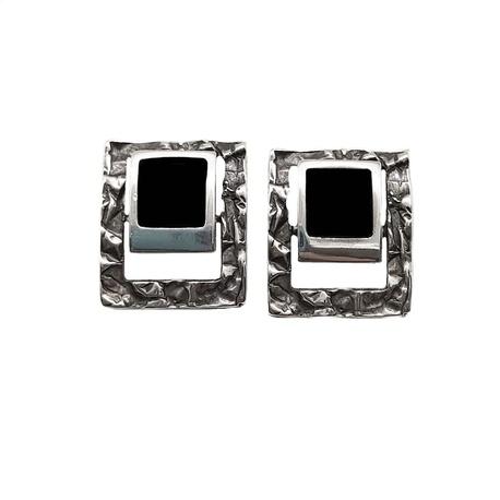 Kolczyki srebrne z onyksem | EJE181 (1)